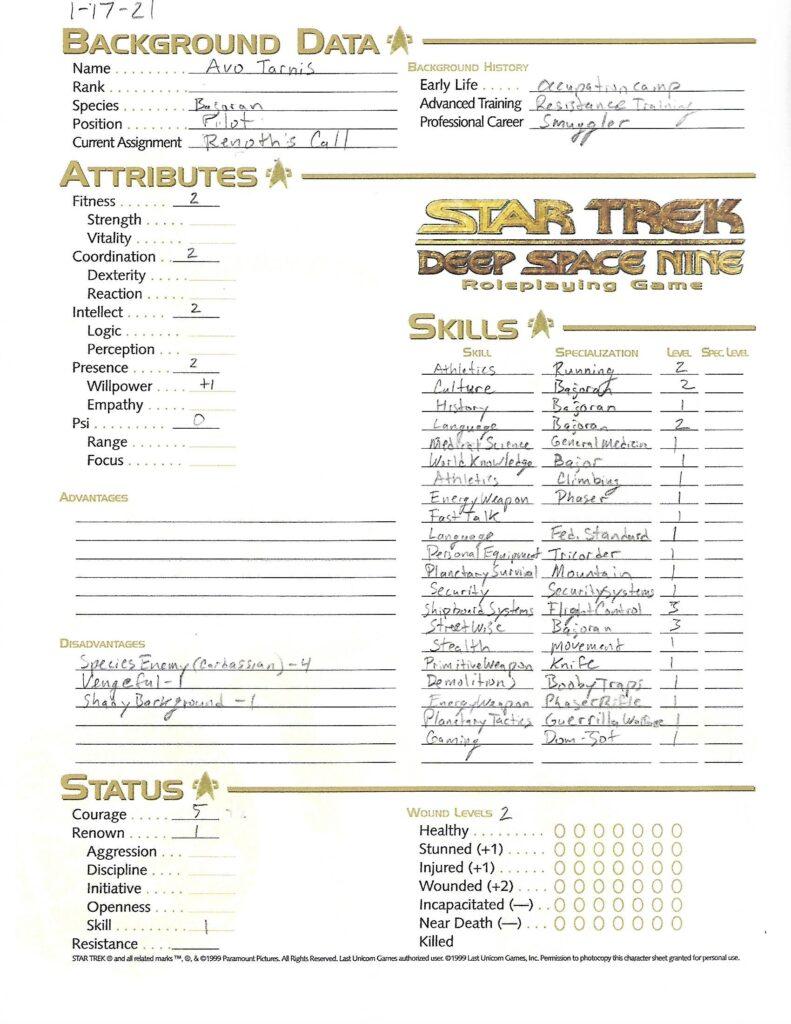 Avo Tarnis character sheet