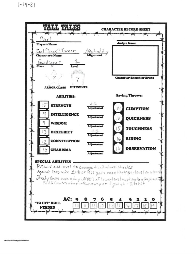 "Earl ""Buck"" Turner character sheet"