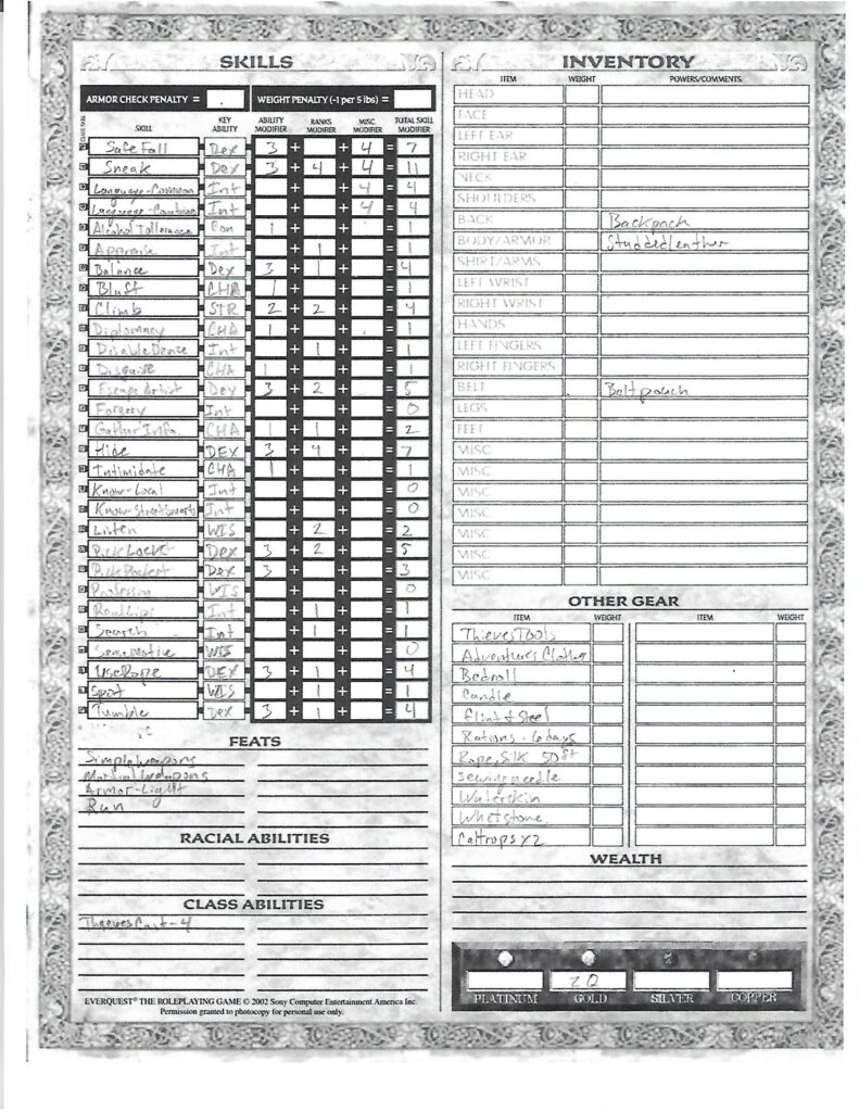 Fareed character sheet