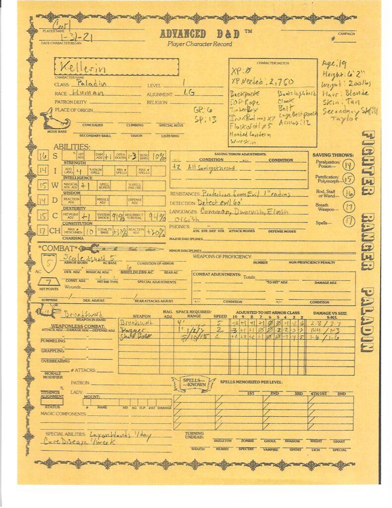 Kellerin character sheet