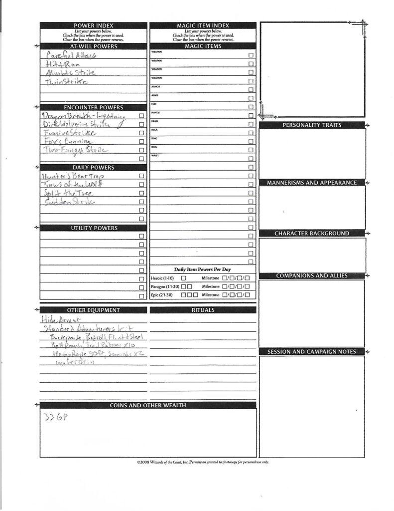 Kriv character sheet