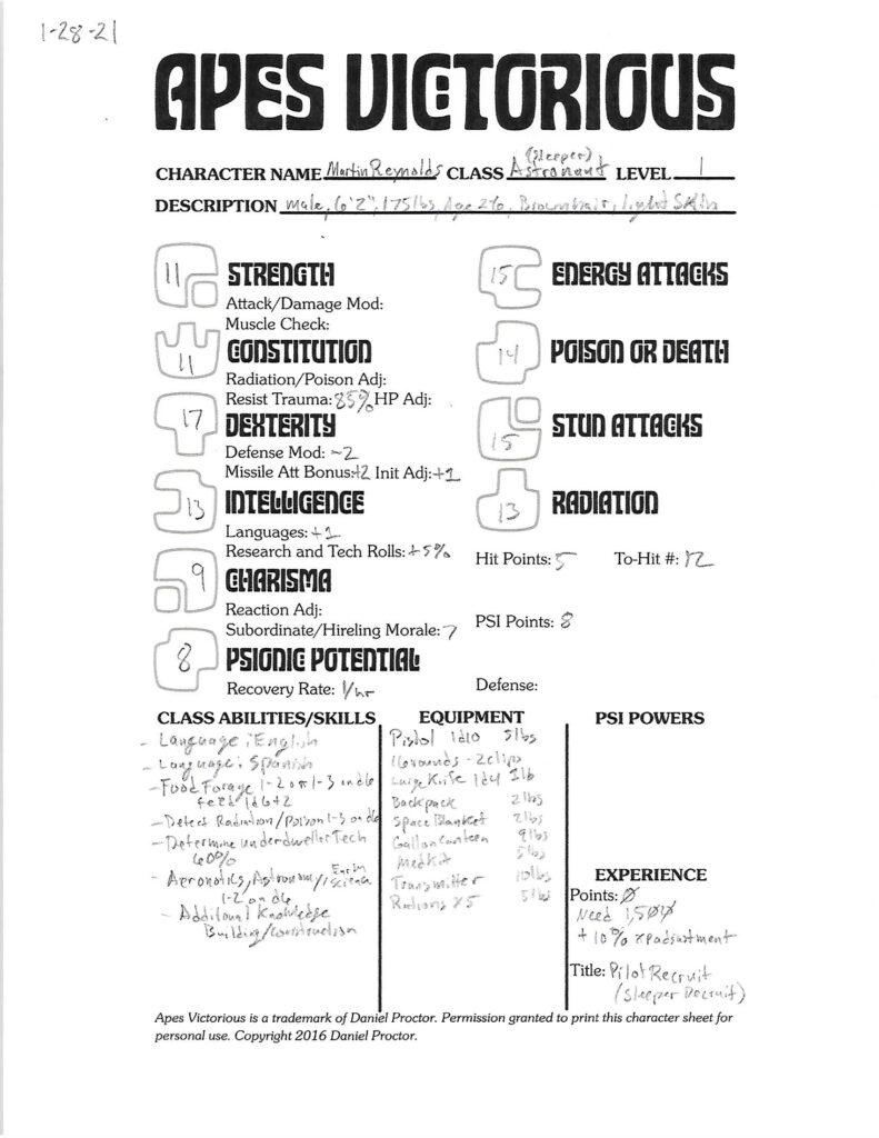 Martin Reynolds character sheet