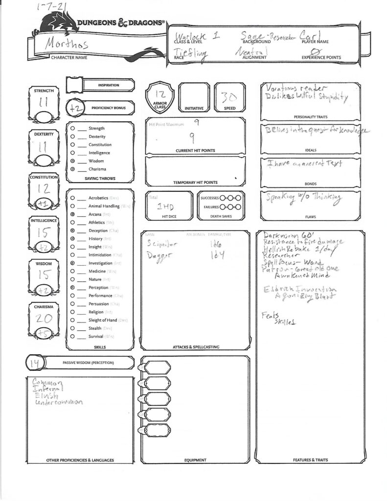 Morthos Character Sheet page 1