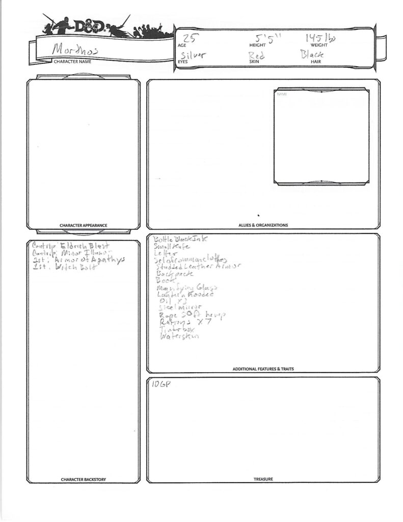 Morthos Caracter Sheet page 2