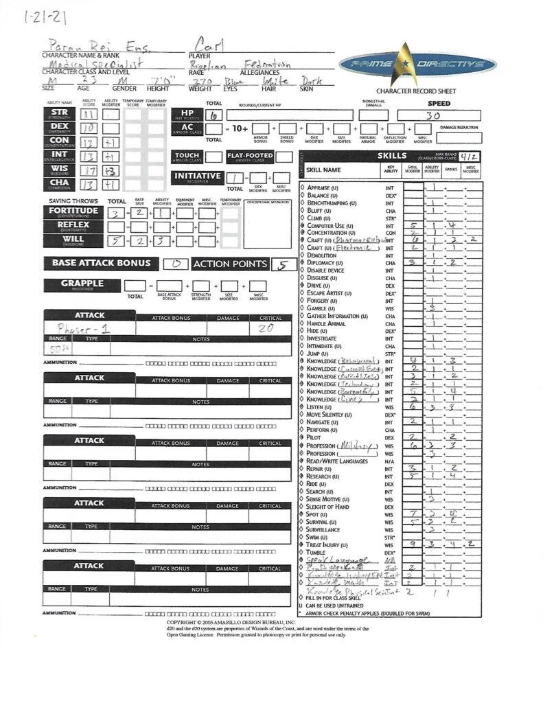 Paran Rei character sheet