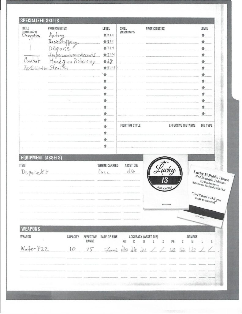 Peter Page character sheet
