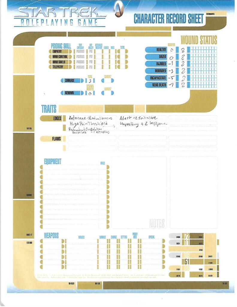 Rexun character sheet