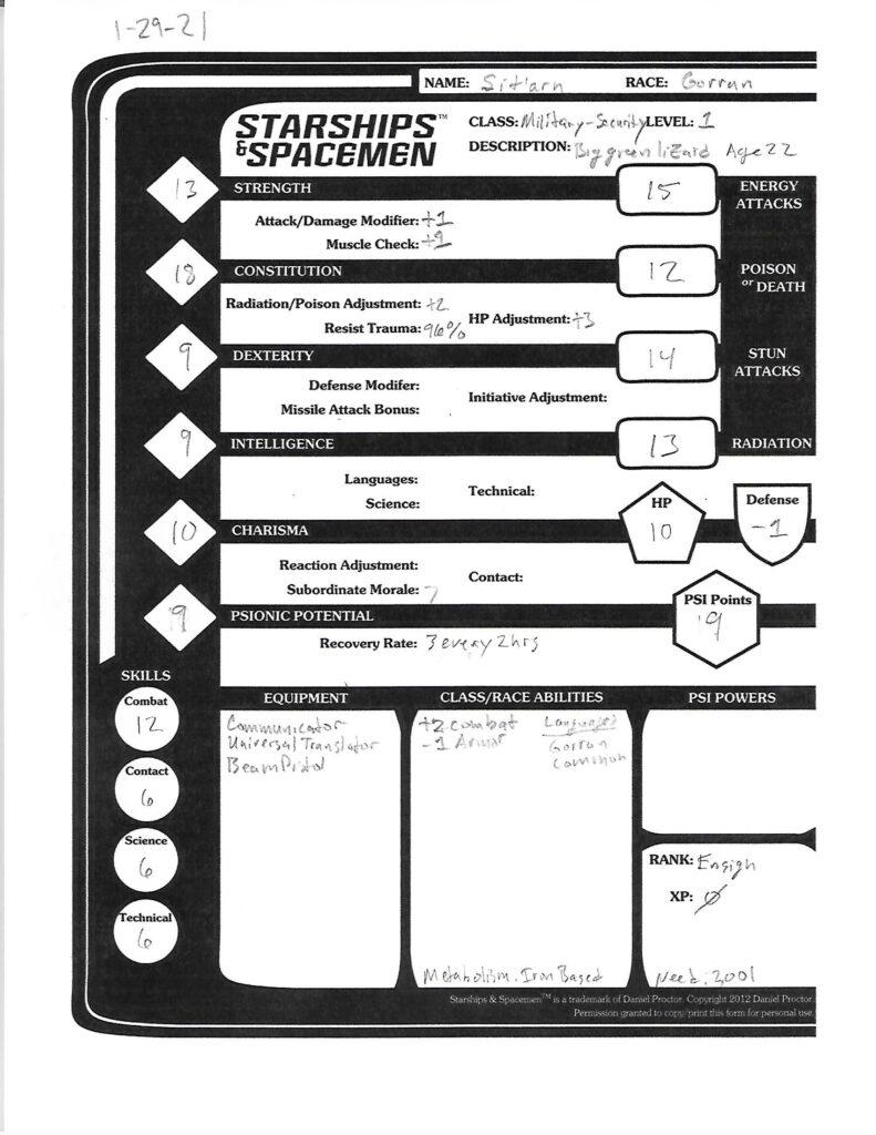 Sitarn character sheet