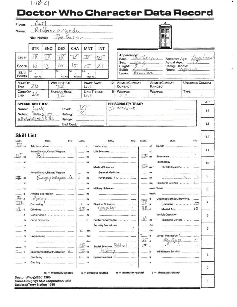 The Baron Character Sheet