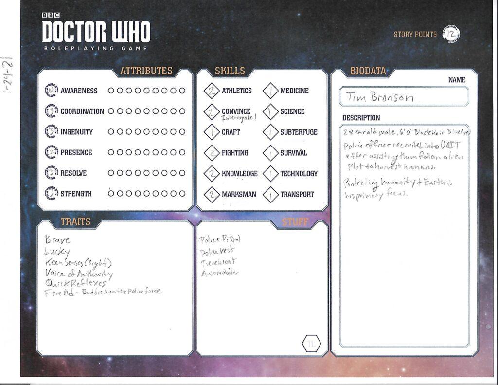Tim Bronson character sheet