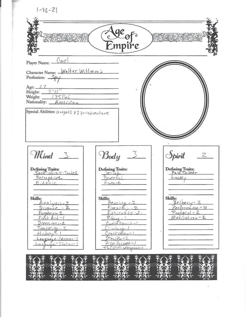 Walter Williams character sheet page 1
