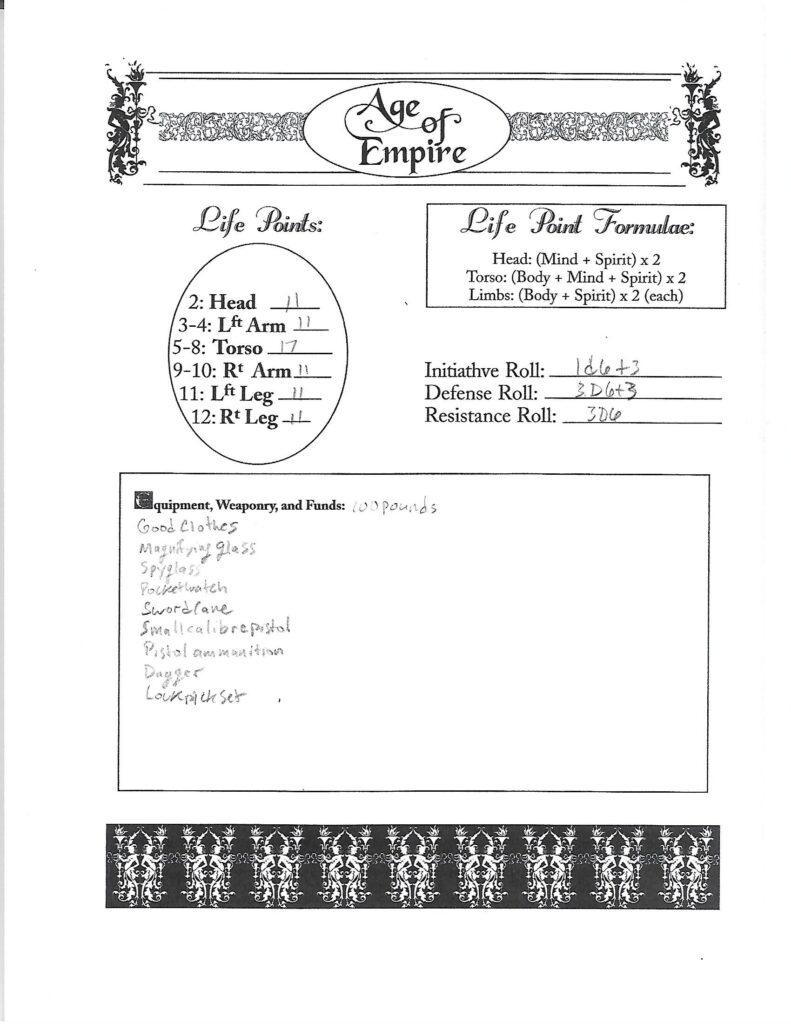 Walter Williams character sheet page 2
