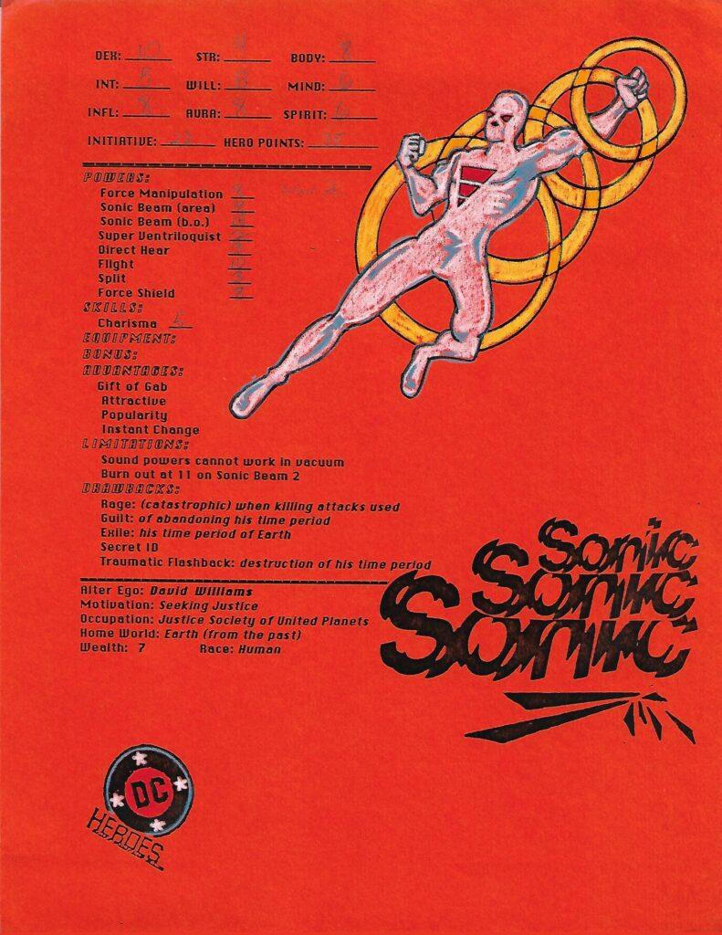 DC Heroes RPG character Sonic