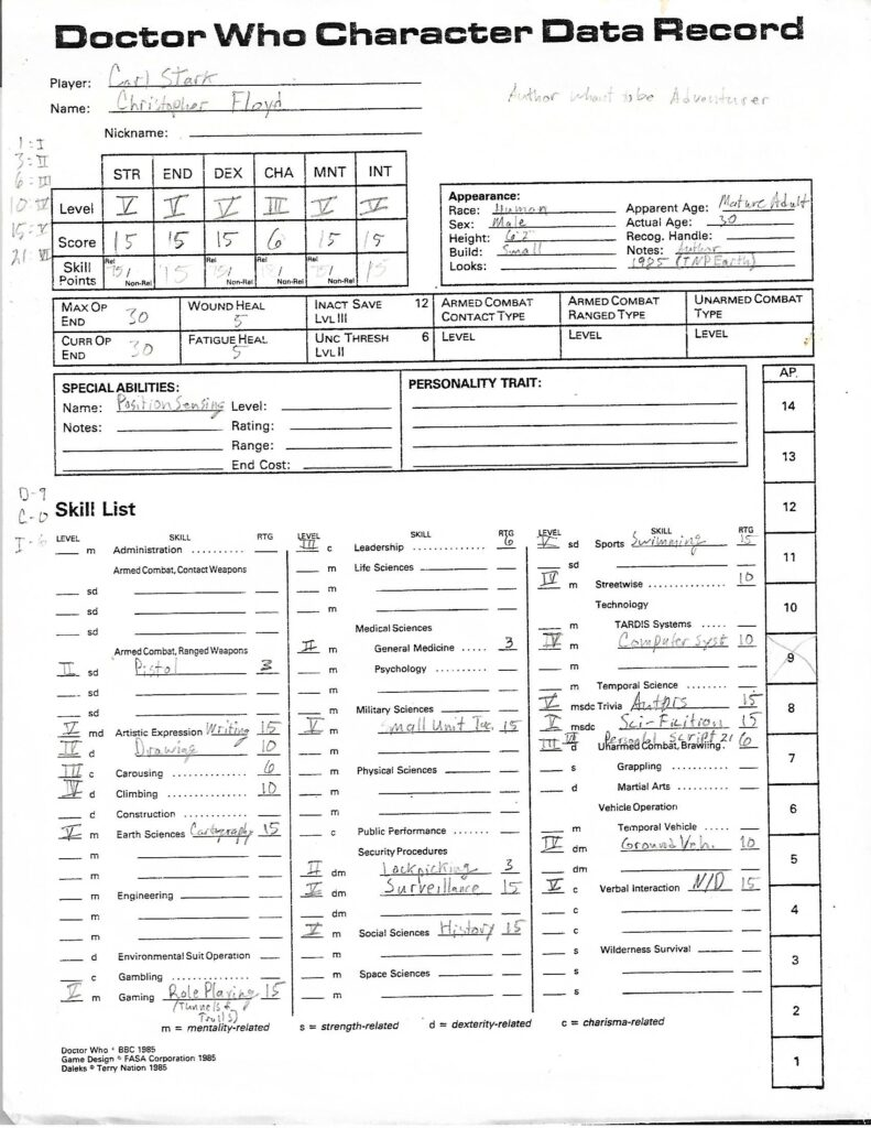 Doctor Who RPG Character Sheet