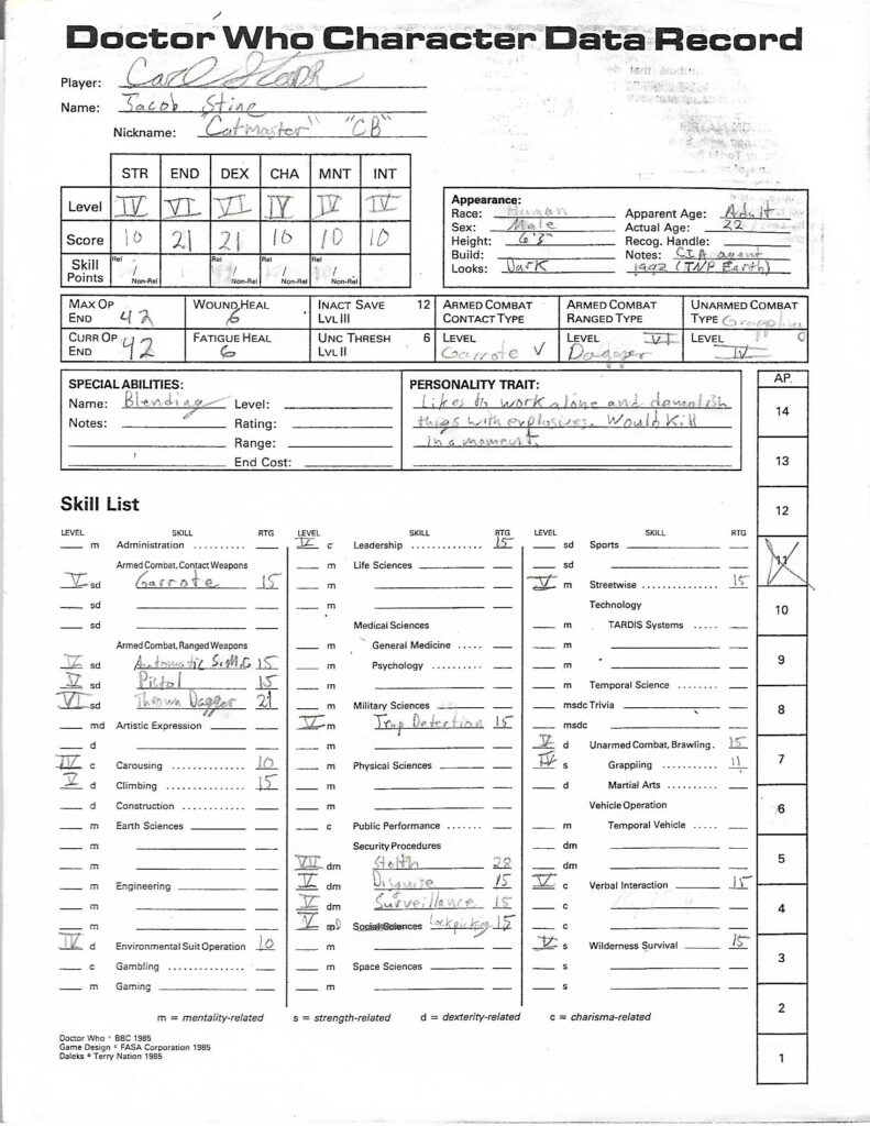 Doctor Who Character Sheet for Christopher Floyd.
