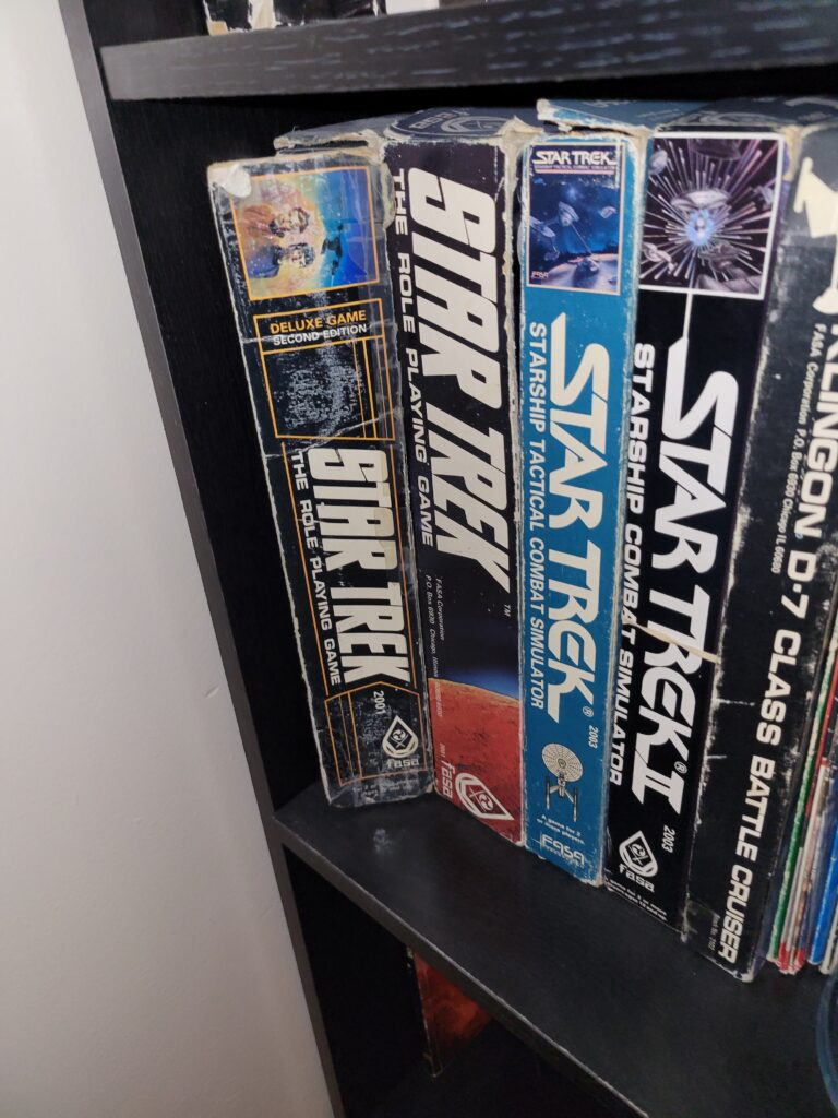Several boxed sets for the FASA Star Trek Role Playing Game.
